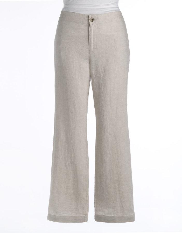 Kate Hill Plus-Size Linen Elastic-Waist Pants