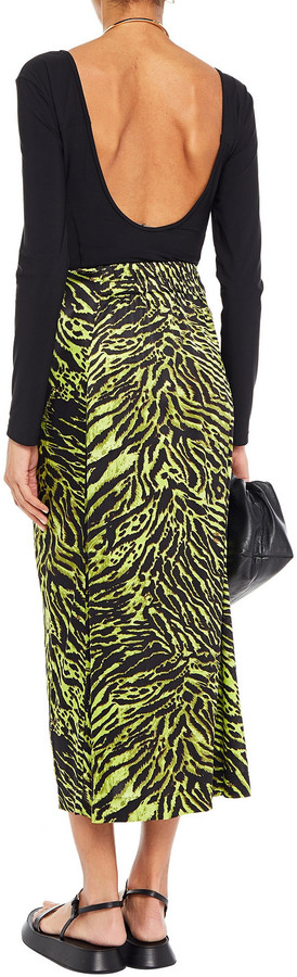 Thumbnail for your product : Ganni Tie-front Printed Stretch-silk Satin Midi Skirt