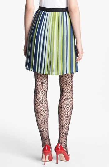 Nordstrom Miss Wu Stripe Pleated Chiffon Skirt Exclusive)