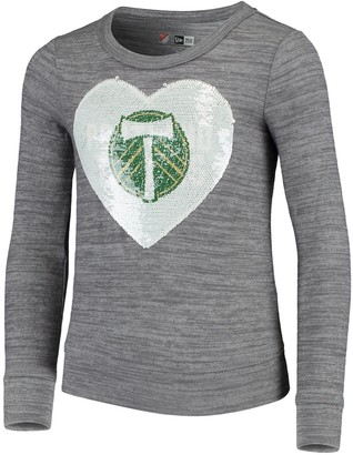 New Era Girls Youth 5th & Ocean by Heathered Gray Portland Timbers Flip Sequin Pullover Sweatshirt