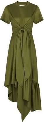 Marques Almeida Army Green Jersey T-shirt Dress