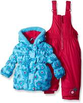 Pink Platinum Baby Girls Big Floral Print Snowsuit