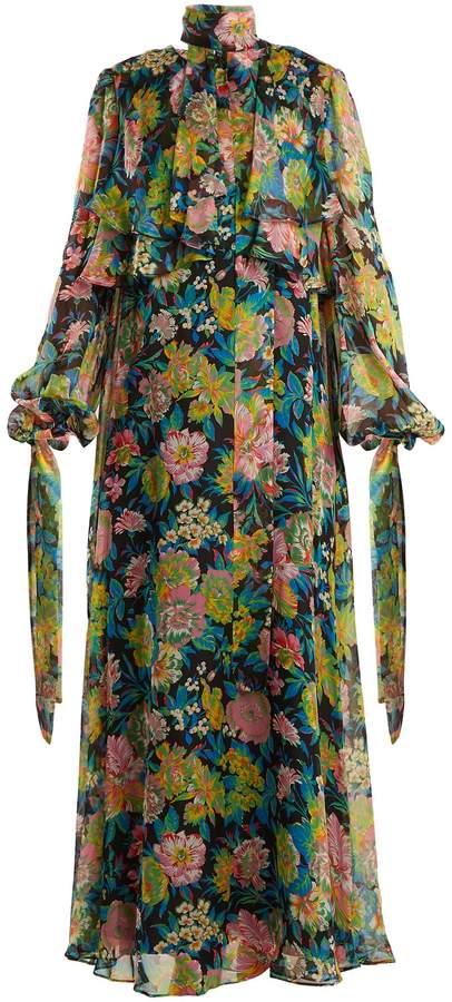 MSGM Floral-print silk-chiffon dress