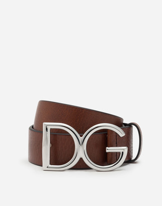 Dolce & Gabbana Tumbled Leather Belt With Logo