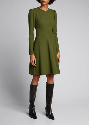 Lela Rose Asymmetric Seamed Fit-&-Flare Dress