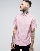 Original Penguin Slim Oxford Shirt Short Sleeve Buttondown in Red Marl