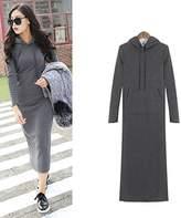 Hittime TR.OD Hoodie Slim Bodycon Sweater Maxi Dress Add Wool Long Fleece Dress
