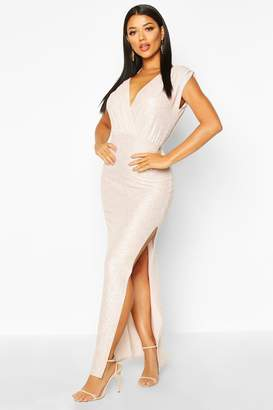 boohoo Metallic Wrap Front Maxi Dress