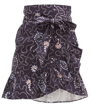 Etoile Isabel Marant Liliko Fluted-hem Paisley-print Cotton Skirt - Navy