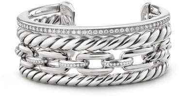 David Yurman Wellesley Sterling Silver Four-Row Cuff Bracelet with Diamonds