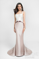 Terani Evening - Two-Toned Svelte Mermaid Gown with Bow Detail 1711E3161