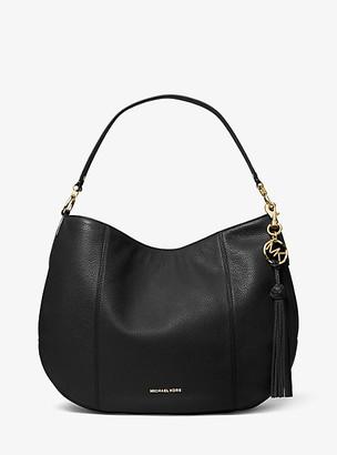 MICHAEL Michael Kors MK Brooke Large Pebbled Leather Shoulder Bag - Black - Michael Kors
