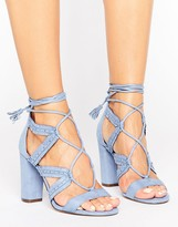 Call it SPRING Veriri Ruffle Lace Up Heeled Sandals