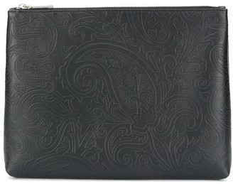 Etro Embossed Leather Zip Pouch