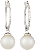 Majorica Hoop Earrings w/ 10mm Pearl Drop, White