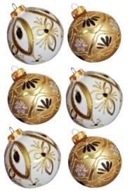 Kurt Adler 80MM Gold and White Glass Ball Ornaments, 6-Piece Box Set