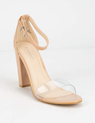 Bamboo Clear Ankle Strap Nude Heeled Sandals