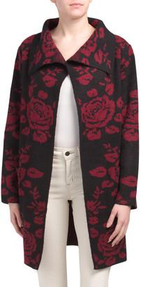 Rose Print Oversize Drape Neck Cardigan