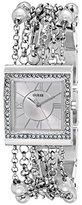 GUESS Women's U0140L1 Pearl Embellished Silver-Tone Bracelet Watch