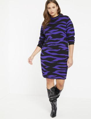 ELOQUII Tiger Intarsia Sweater Dress