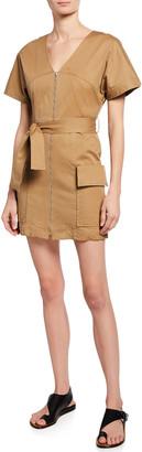 A.L.C. Bellamy Zip-Front Short-Sleeve Stretch-Cotton Dress