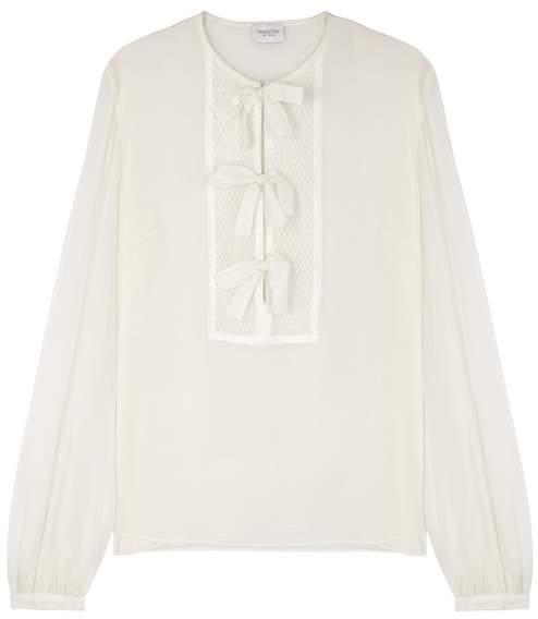 Giambattista Valli Ivory Bow-embellished Silk Blouse