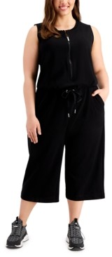 Calvin Klein Plus Size Half-Zip French Terry Jumpsuit