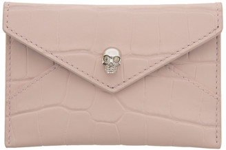 Alexander McQueen Pink Croc Skull Envelope Card Holder