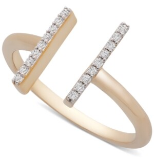 Wrapped Diamond Bar Cuff Ring (1/10 ct. t.w.) in 14k Gold, Created for Macy's