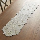 Pier 1 Imports Beaded White Peacock Table Runner - 54""