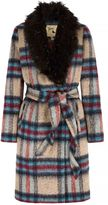 Yumi Check Faux Fur Collared Wrap Coat