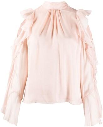 Temperley London Lovebird ruffled silk blouse