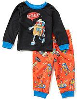 Komar Kids Little Boys 2T-4T Solid Robot Pajama Top & Printed Pajama Pants