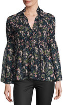 On the Road Eva Marie Floral-Printed Top, Blue Pattern