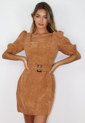 Missguided Camel Cord Puff Sleeve Skater Dress