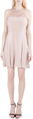 Rebecca Taylor Blush Pink Silk Lace Insert Pleated Cocktail Dress M