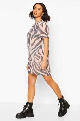 boohoo Zebra Print Mesh T-Shirt Dress