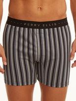 Perry Ellis Stripe Solid Trim Cotton Boxer