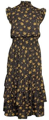 Saks Fifth Avenue Daisy-Print Flounce Blouson Dress