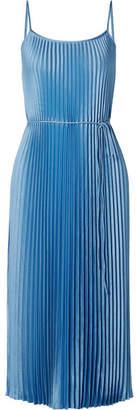 Vince Pleated Satin Midi Dress - Light blue