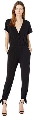 bobi Los Angeles Tied Leg Surplice Jumpsuit in Modal Jersey (Black) Women's Jumpsuit & Rompers One Piece