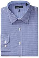 Nautica Men's Classic Fit Gingham Spread Collar Dress Shirt