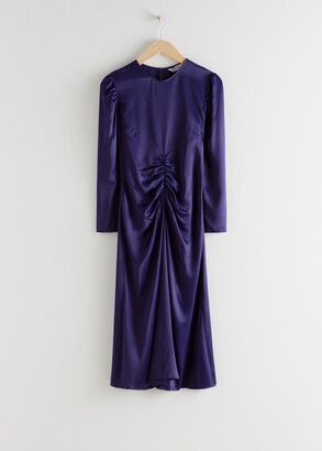 And other stories Ruched Satin Midi Dress