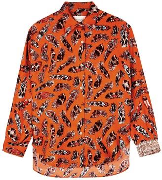La Prestic Ouiston Varenne orange feather-print silk blouse