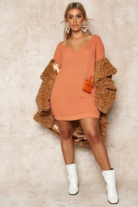 boohoo Plus V-Neck Jumper Mini Dress