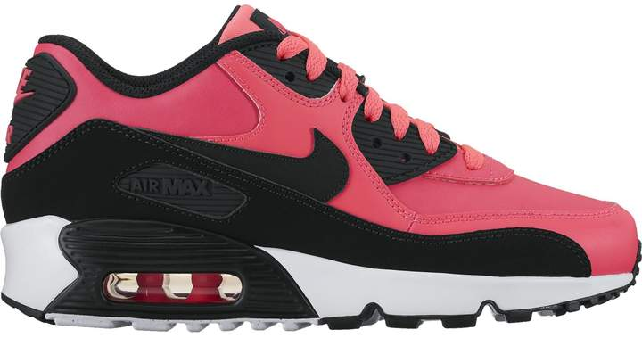 Nike 90 Leather Girl's Shoe (GS) Racer Pink/Black-White