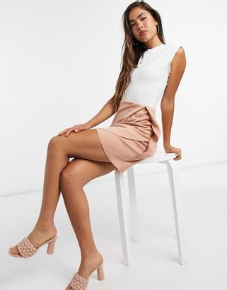 ASOS DESIGN scuba mini wrap skirt in light tan