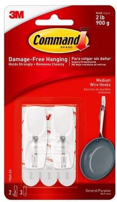 Command Medium Sized Wire Toggle Hook (2 Hooks 3 Strips) White