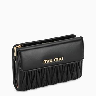 Miu Miu Black mix of textures small wallet