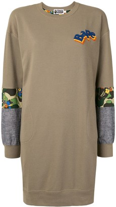 A Bathing Ape Contrast-Panel Sweatshirt Dress
